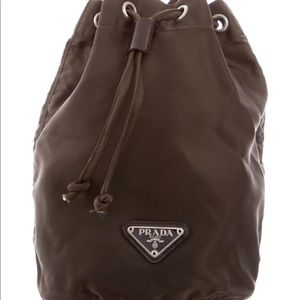Brown Prada Nylon Bucket Bag